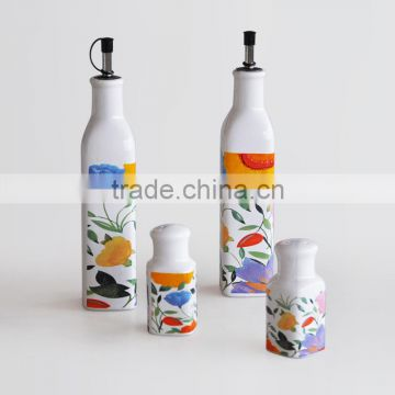 Set of 4 Cruet, Salt &Pepper Bottle, Oil &Vinegar Bottle, Ceramic With Decal Printing