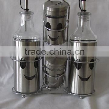 4 Pieces Mat Shinning Stainless Steel Coated salt pepper oil vinegar with metal stand