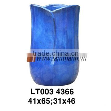 Vietnam Pattern Ceramic Blue Outdoor Flower Vase For Wholesalers