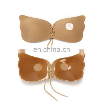 Sexy Push Up Bra lace up Silicone Invisible Strapless Bra set for Women