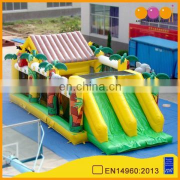 AOQI interesting house inflatable combo slide for sale
