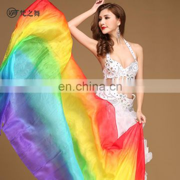 P-9105 New arrival real silk colorful 2.4*1.14m belly dance veil