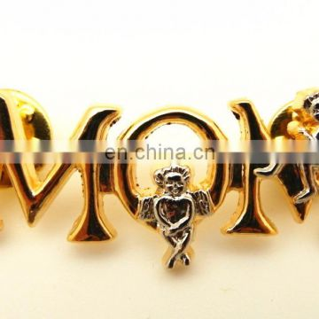 Customized Design Multi Different Style Promotion LETTER WORD Gold LAPEL PIN Badge