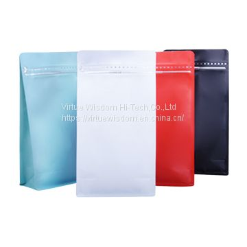 250g custom printed white flexible flat bottom pouch with zipper for coffee packaging bags