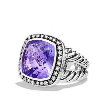 Sterling Silver Jewelry 14mm Amethyst Moonlight Ice Ring(R-106)