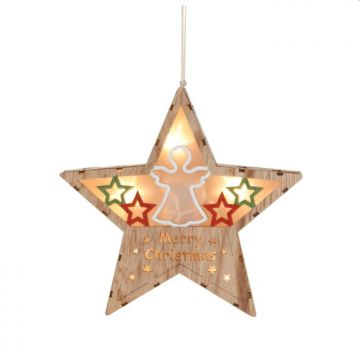 hanging wooden crafts with led light pendant star house wall decor for christmas home decoration
