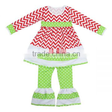 Boutique outfits baby clothes factory Christmas clothes long sleeve chevron dress & ruffle pants set fall toddler set