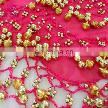 Latest design cheap chiffon bead and bell factory belly dance hip scarf Y-2056