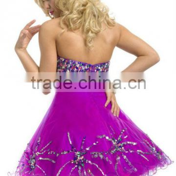 Beaded Dress Short Sexy Net Frock Crystals Backless Sweetheart Tulle Mini Ball Gown Club Night Party Dress