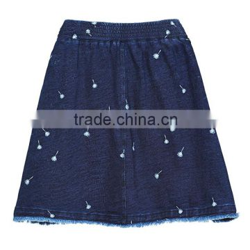 professional jeans manufacture china girls Women's embroidered raw edges Jean denim Skirt