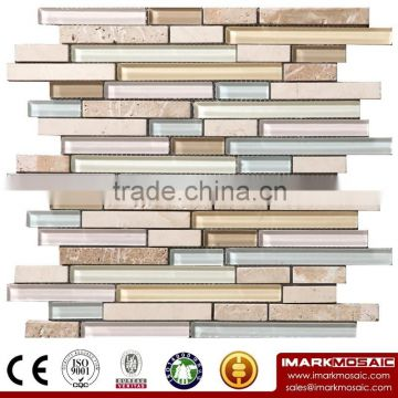 IMARK Super White Glass Mosaic by Crystal Glass Mosaic Tile Mix Marble Mosaic Tile(IXGM8-012)for Wall Decoration