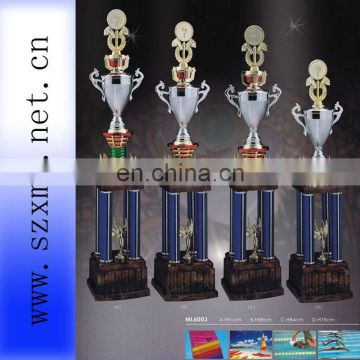 silver plastic trophy cup of honor with top medal for sailing souvenir