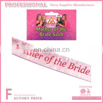Pink Satin Mother of the Bride Sash