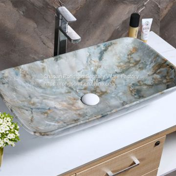 Chaozhou hot sale ceramic round shape golden color sanitary ware bathroom wash hand art basin sink