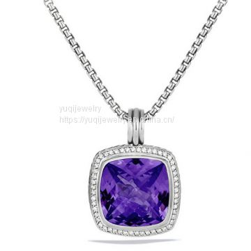 925 Silver Jewelry 20mm Albion Pendant with Amethyst and Diamonds(P-061)
