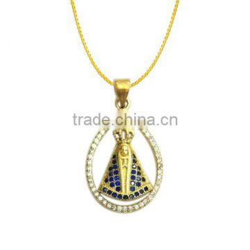semi joias stylish micro pave cz Brazil goddess gold zircon pendant