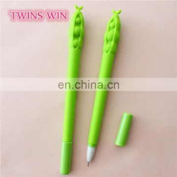 Philippines cheapest stationery wholesale kids fancy colored plastic soybean shaped gel ink pens with custom logo