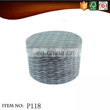 Large to small luxury round rattan weaving cardboard gift toy box