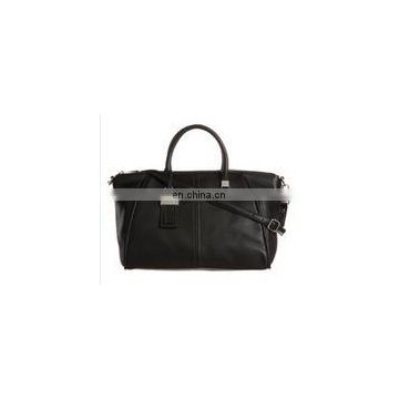 EBC Lelany black PU leather tote bags with belt infront