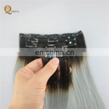 Grey hair clip in extensions,clip in hair extension 100% human for black women