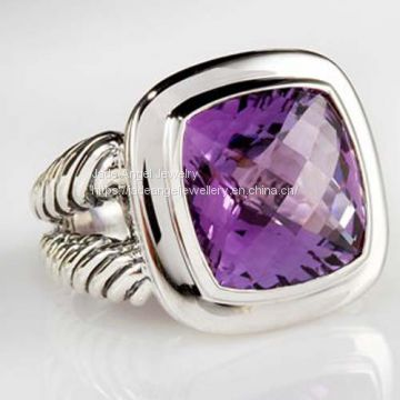 Women Sterling Silver DY Inspired 14mm Amethyst Split-Shank Albion Ring
