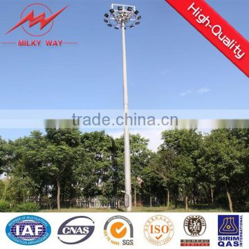 Morden design solar power energy street light pole complete with fittings and lift system for a footbal filed