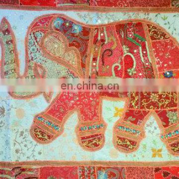 Wall Decor Elephant Tapestry Patchwork Embroidered Hippie Sequins Heavily Handmade Vintage Embroidered, TAPESTRY & Elephant