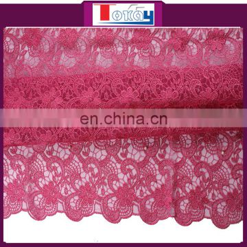 2015 new arrival red color cord lace mix organza for party dresses