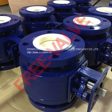 Pneumatic Actuator Flange Type Ceramic Ball Valve for chemical industry or fly ash system in coal power station