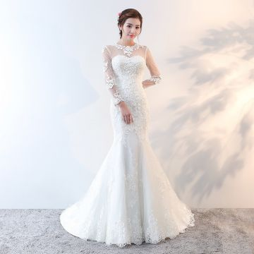 Long Sleeve Tail Long Sleeve Wedding Gown