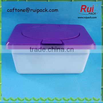purple cartoon wet tissue box, sterilized wet tissue dispenser / plastic box of baby wet wipes