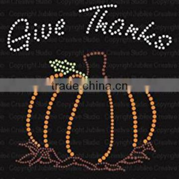 Give Thanks Pumpkin Iron On Rhinestone Crystals and Rhinestud T-shirt Transfer by Jubilee Rhinestones