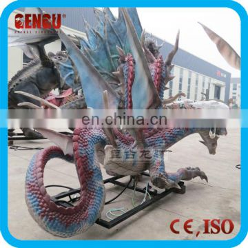 Outdoor Amusement Park Equipment Resin Dragon Garden Statues