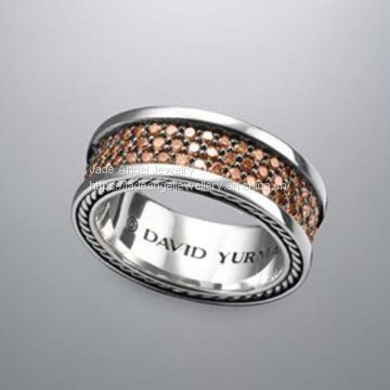 Designs Inspired David Yurman Sterling Silver Pave Cognac Diamond Band Ring