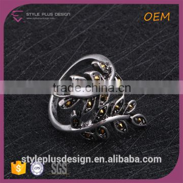 R63226A01 Stainless Steel Engineers Iron Slip Leaf Shape Ancient Silver Ring Sale