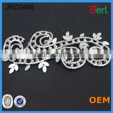 2016 Fashion Design Rhinestone Beaded Bridal French Lace trimming with Pearls for Dresses