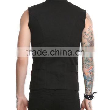 Stunning black darkstreet style mens sleeveless waistcoat in black cotton with webbing strap sleeveless jean jacket(ROCK022)