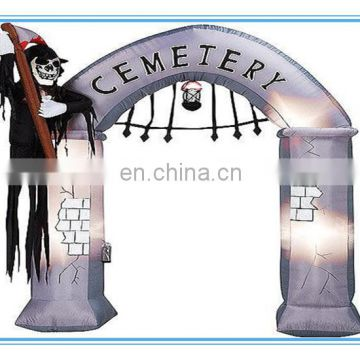 Halloween inflatable arch, inflatable haunted archway, halloween deocr promotion inflatable skull entrance for event