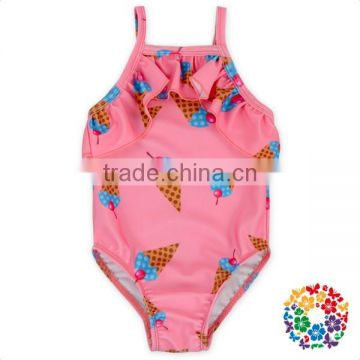 Little Girl Polka Dots Swimming Fabric Clothes Ruffle One Piece Doughnuts Swimsuit