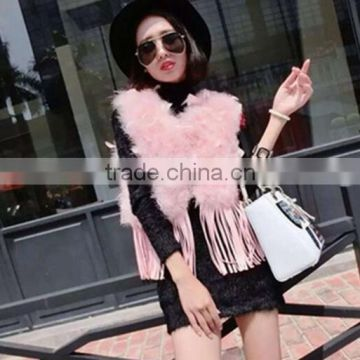 B Rabbit Fur Tassels Fashion Turkey Feather Vest