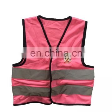 120 gsm high quality pink kids reflective safety running vest with EN1150 approved