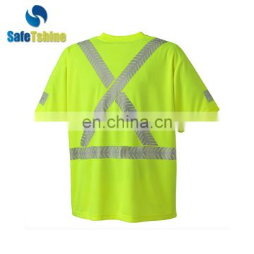OEM service unisex reflective fluorescent safety t-shirt
