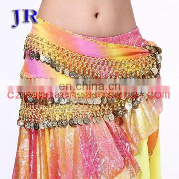 Chiffon leopard sequins and coin belly dance hip belt for women Y-2022#