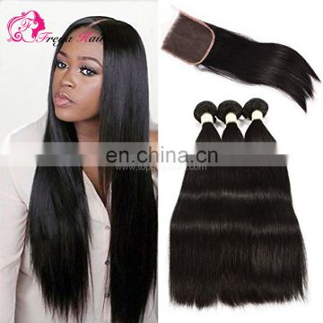 Brazilian hair free part middle part three parts lace closure with 3 bundles