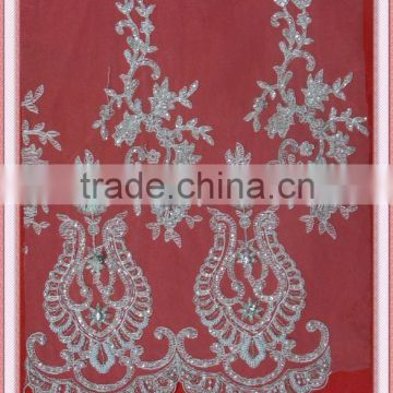 wedding fabric/2015 special design embroidery lace fabric with beads and cords for wedding dress