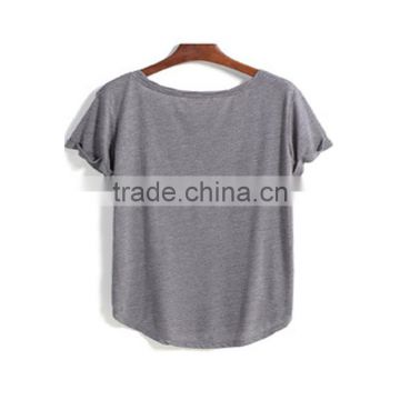 Dongguan ladies t-shirt short sleeve round neck pure color grey t-shirt for ladies