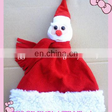 Lovely plush christmas hat with snowman head toy