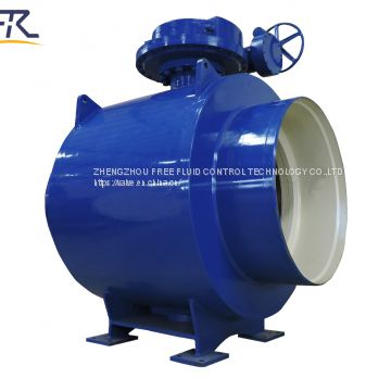 Fully welded ball valve with worm gear