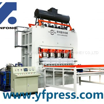 Synchronized embossing short cycle hot press for laminating floor/plywood