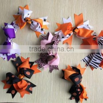 Girls' Extra Large GrosGrain Knotted Boutique Ribbon Hair Bow Alligator Clip For Halloween